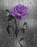 Purple Gray Wall Art, Decorative Bathroom Bedroom Purple Wall Decor, Purple Rose Flower, Butterflies, Littlepiecreations Original USA Handmade Photo Matted Picture, 8''x10'' with 11''x14'' White Mat