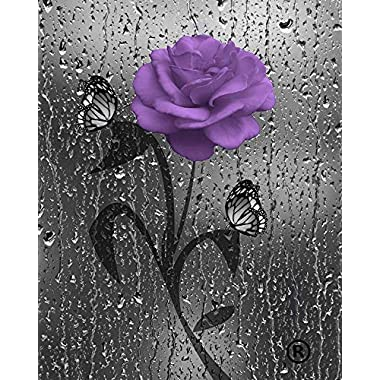 Purple Gray Wall Art, Decorative Bathroom Bedroom Purple Wall Decor, Purple Rose Flower, Butterflies, Littlepiecreations Original USA Handmade Photo Matted Picture, 8 x10  with 11 x14  White Mat
