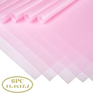 "Bloss Shelf liner,6PC Waterproof Refrigerator Mat Anti-slip Easy Cleaning Ingredients Pad Oddor-free and Support Cutting Shelf Liner in 11.4×17.7"" for Closet Shelves-Pink"
