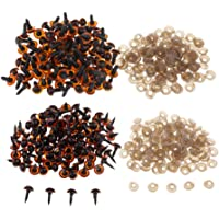 F Fityle 200 Pieces Brown Plastic Safety Screw Eyes for Plush Toy Bear Doll Crafts 10mm 12mm
