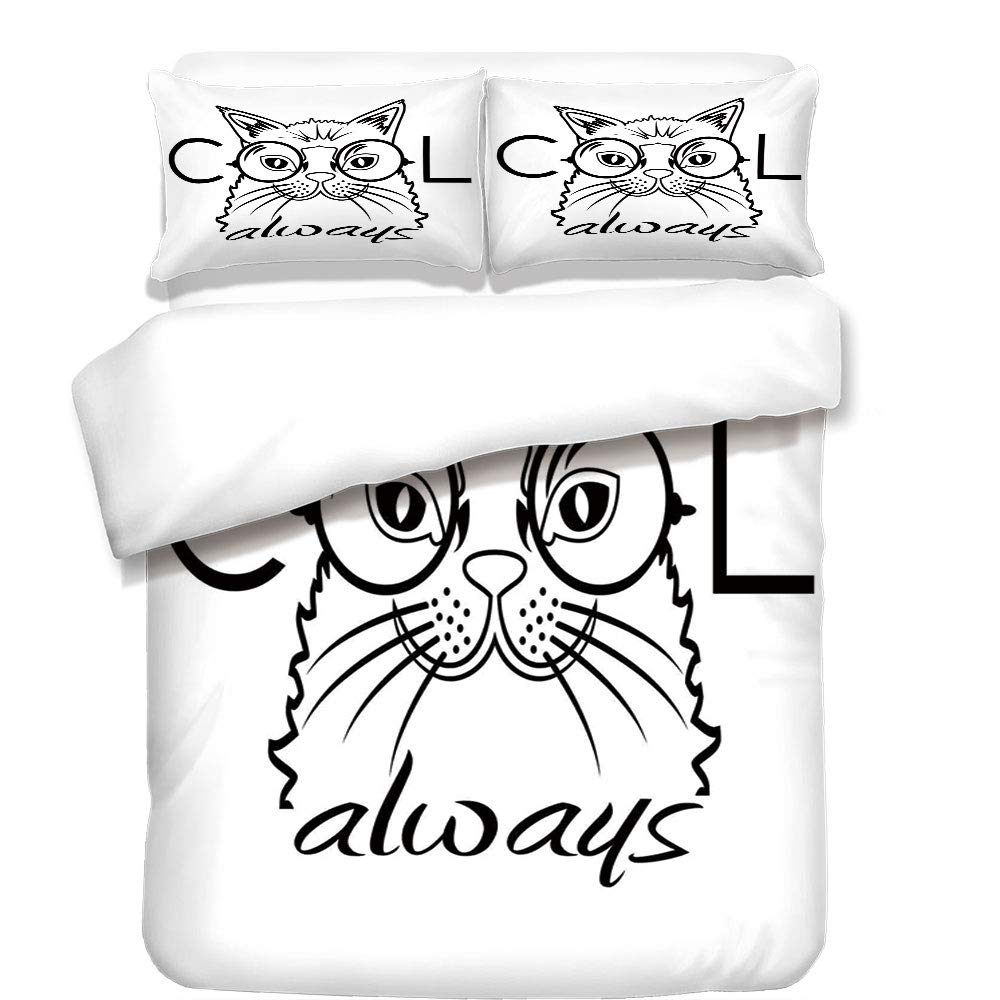 iPrint 3Pcs Duvet Cover Set,Cat,Cool Smart Fashion Kitty Image in Big Glasses Hipster Trendy Pet Kids Satire Sketch,Black White,Best Bedding Gifts for Family/Friends