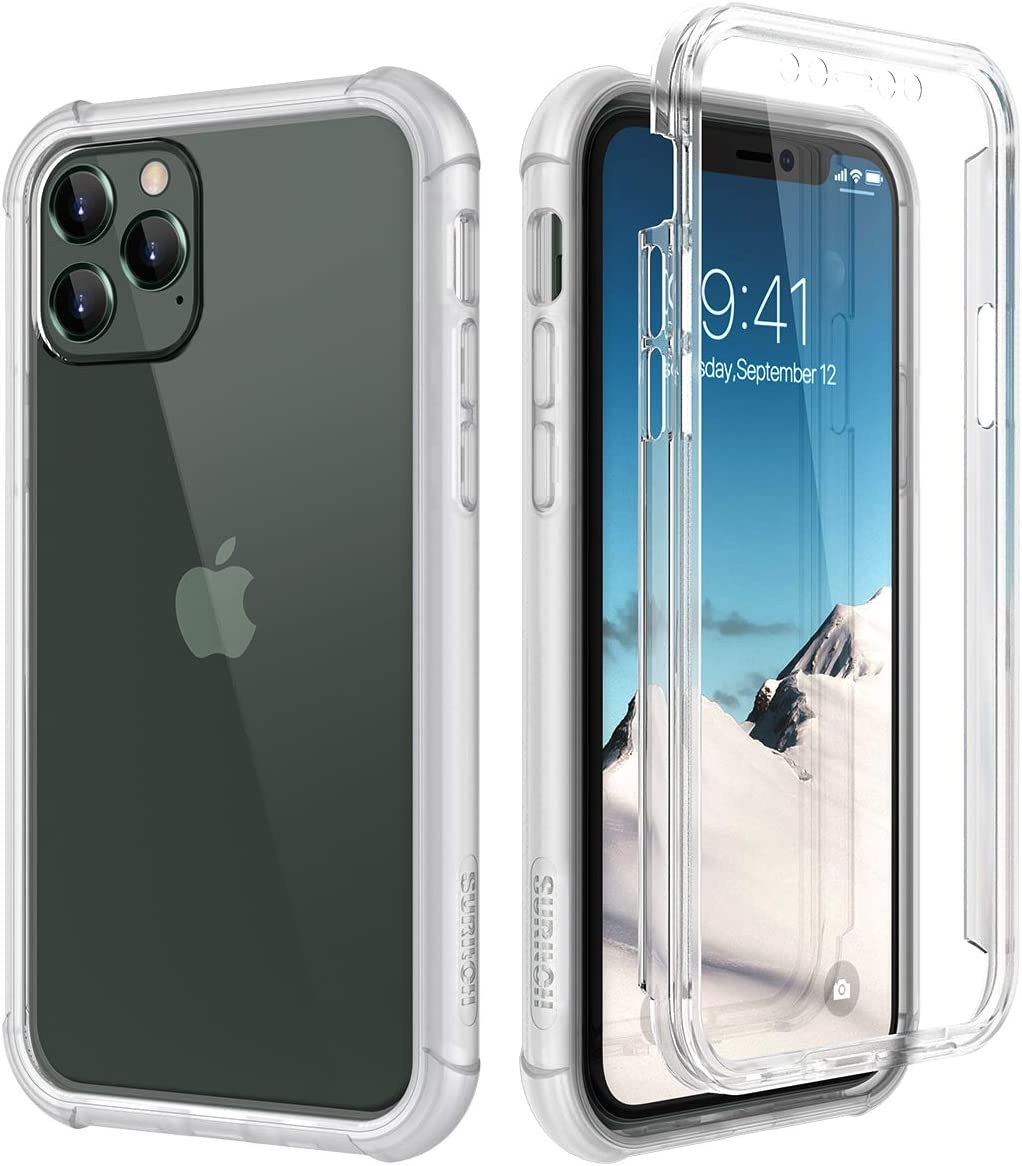 """SURITCH Clear Case for iPhone 11 Pro,?Built in Screen Protector??Support Wireless Charging? Hybrid Protection Hard Shell+Soft TPU Rubber Bumper Rugged Case Shockproof for iPhone 11 Pro 5.8""""(Clear)"""
