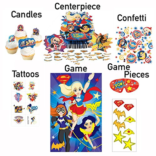 DC Superhero Girls Birthday Party Centerpiece Decorations Kit For Table: Party Game, Confetti, Tatoos, Candles, 3 Piece Center Piece, Harley Quinn, Wonder Woman, Supergirl and (Harley Decorations)