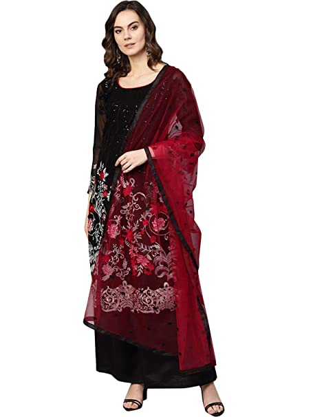 Ishin Poly Georgette Black Embroidered Unstitched Salwar Suits dress material with Dupatta Dress Material