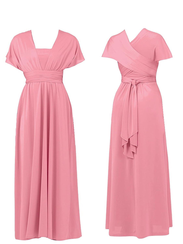 NEW WOMENS DEBUT DEBENHAMS MULTIWAY MAXI DRESS EVENING PROM BRIDESMAID PINK (8): Amazon.co.uk: Clothing