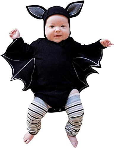 YOUNGER TREE Halloween Infant Baby Boy Girl Outfit Bat Cosplay Costume Jumpsuit with Hat
