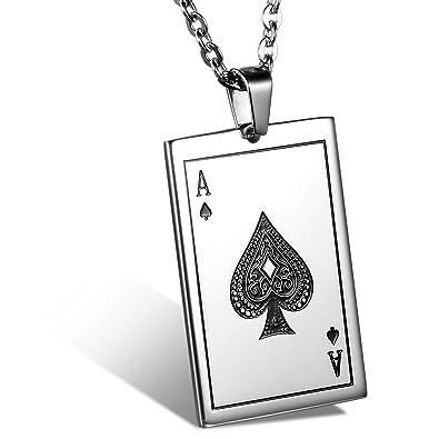 JewelryWe シルバー(銀) ステンレス トランプ柄 スペード J Q K ネックレス メンズ