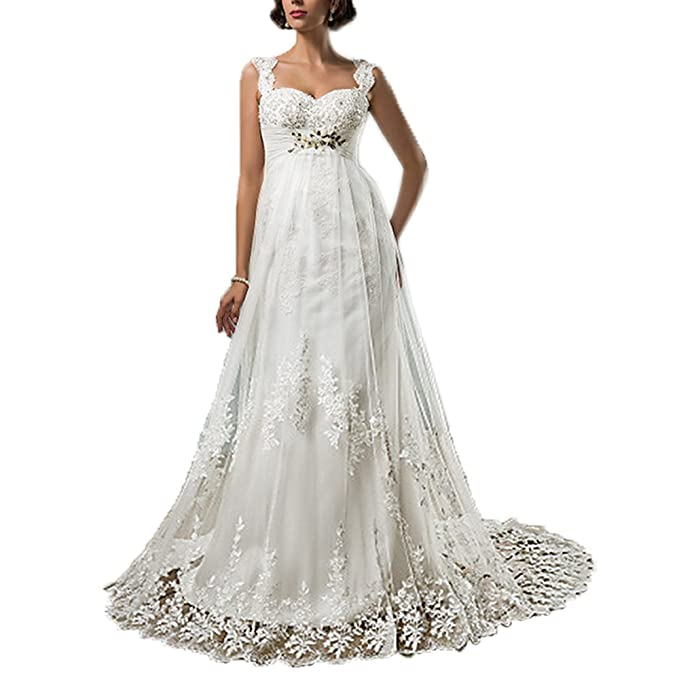 4ae67e0567 Rudina Sleeveless Square Neck Lace Tulle Wedding Dress Crystal Beading  Appliques Bridal Gown Ivory,2