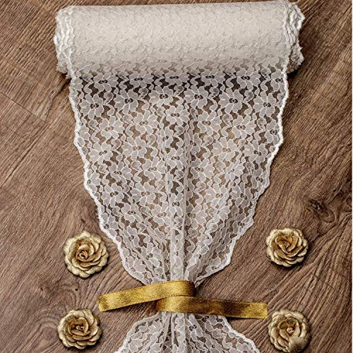 """Feminen 12'"""" X 110"""" Burlap Lace Fabric Table Runner Linens Perfect for Vintage Wedding Decorations // Washable(Ivory)"""