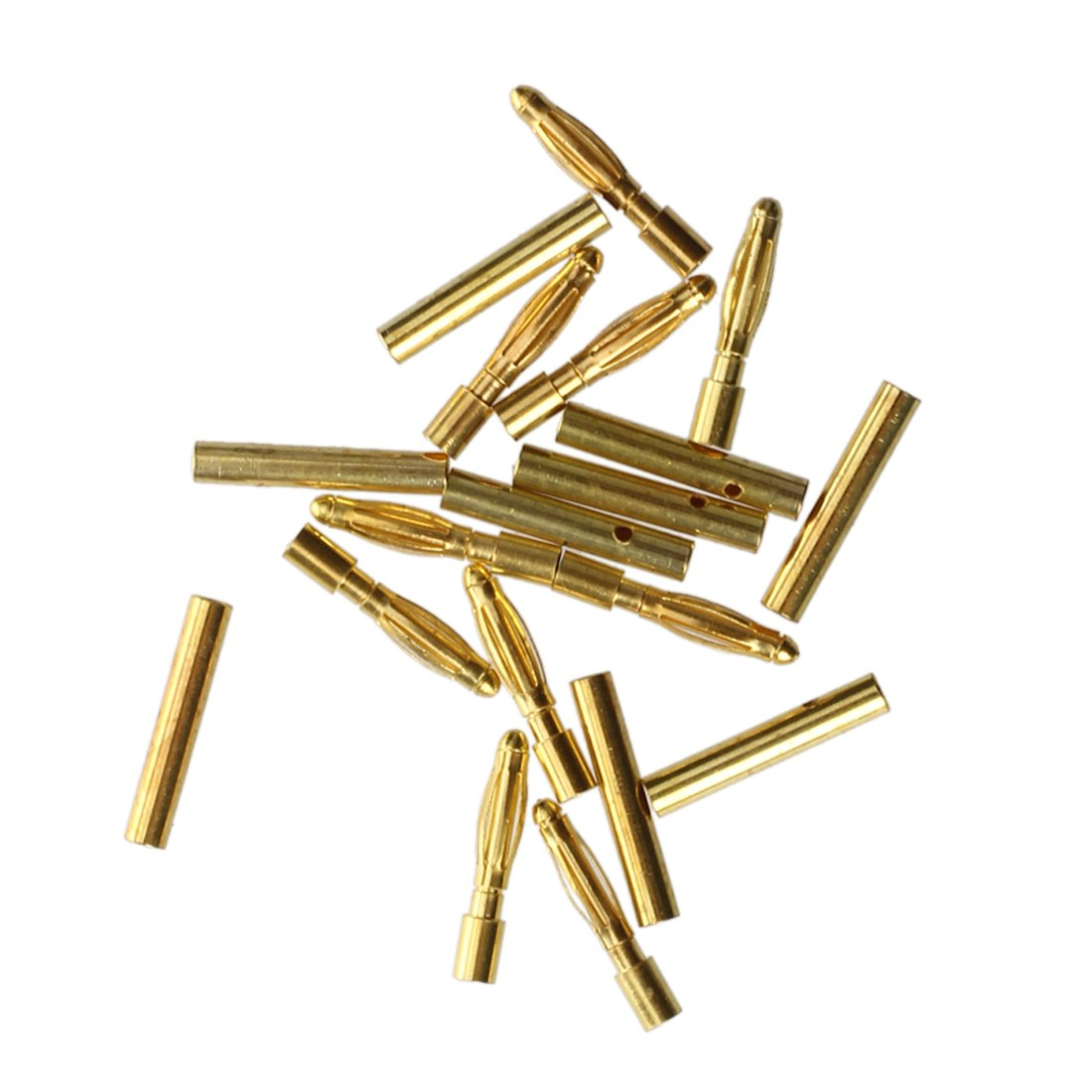 SODIAL(R) 10 Pairs 2.0mm Copper Bullet Banana Plug Connector Male Female Golden 019622