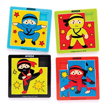 Baker Ross Ninja Sliding Puzzles (Pack of 4) Slide Puzzle for Kids Party Bag Fillers and Gift Ideas