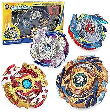 Storm Battle Set 4 Pcs Gyro Spinning Fusión 4D Conjuntos de Metal, Beyblade Burst Peonzas, Gyro Launcher con Estadio, Regalo para Niños
