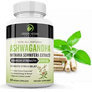 100% Pure Ashwagandha Potent 800mg Advanced Stress Relief 60 Veggie Capsules. Improves Energy, Mood, Balances Cortisol Safe Fast Relief. Australian owned & Operated.