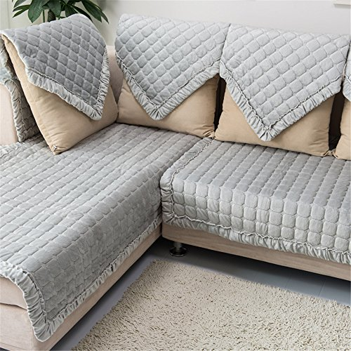 (OstepDecor Multi-Size Pet Dog Couch Rectangular Soft Quilted Furniture Protectors Covers for Sofa, Loveseat | ONE Piece | Backing and Armrest Sold Separately | Grey 28