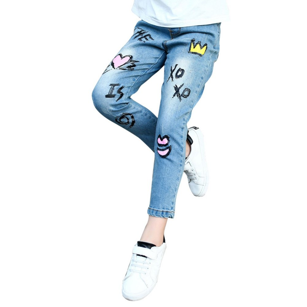 Loveble Casual High Waisted Jeans Crown Print for 3-13 Girls/Teen Girls