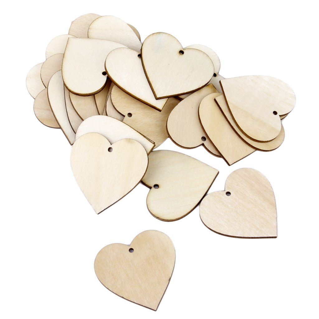aus Holz mit Aufkleber mit Loch 80 mm forumall mit Holz-Herzen