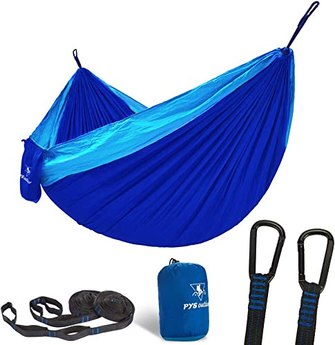 pys Double Portable Camping Hammock with Straps Outdoor -Nylon Parachute Hammock with Tree Straps Set with Max 1200 lbs Breaking Capacity, for Backpacking, Hiking, Travel Royal Blue Bright Blue
