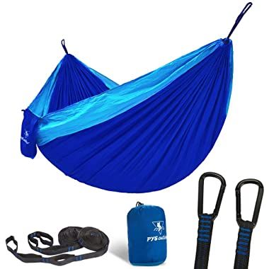 pys Double Portable Camping Hammock with Straps Outdoor -Nylon Parachute Hammock with Tree Straps Set with Max 1200 lbs Breaking Capacity, for Backpacking, Hiking, Travel (Royal Blue+Bright Blue)