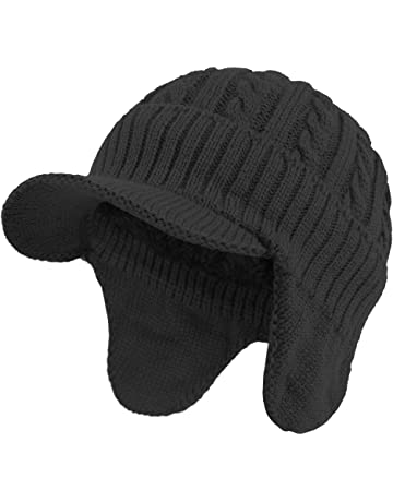 ece8d8afae71ca Janey&Rubbins Winter Outdoor Sports Visor Beanie with Earflaps Knit Ski Hat  with Brim Fleece Lined Skull