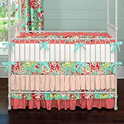 Carousel Designs Coral and Teal Floral Crib Bumper