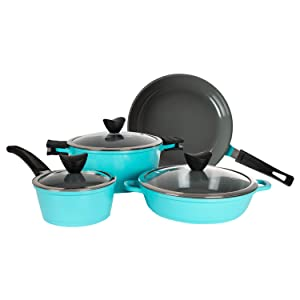 Zelancio Induction Base 7 Piece Cast Aluminum Ceramic Coated Nonstick Cookware Set, Pots and Pans Set, Kitchen Cook Ware Sets