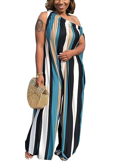 6ddfb40dc02 Amazon.com  Akmipoem Women Vertical Striped Cap Sleeve Off Shoulder Wide Leg  One Piece Jumpsuit Long Rompers  Clothing