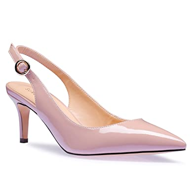 9899529c5e0 SUNETEDANCE Women s Slingback Pumps Pointed Toe Kitten Heels Sandals Slip  On Stiletto Mid Heels Shoes