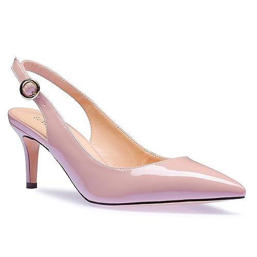 71b47143ef957 SUNETEDANCE Women's Slingback Pumps Pointed Toe Kitten Heels Sandals Slip  On Stiletto Mid Heels Shoes
