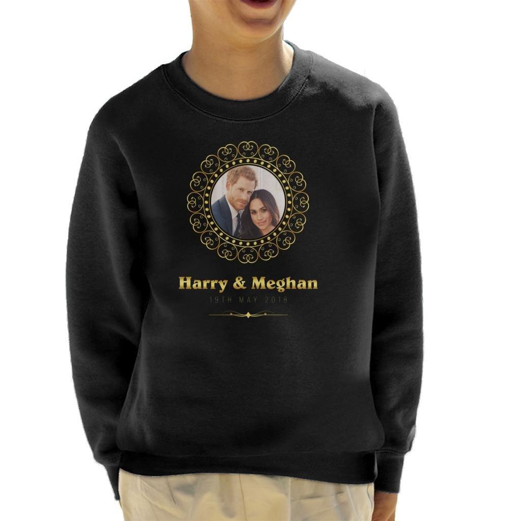 Coto7 Golden Frame Harry and Meghan Royal Wedding Kid's Sweatshirt