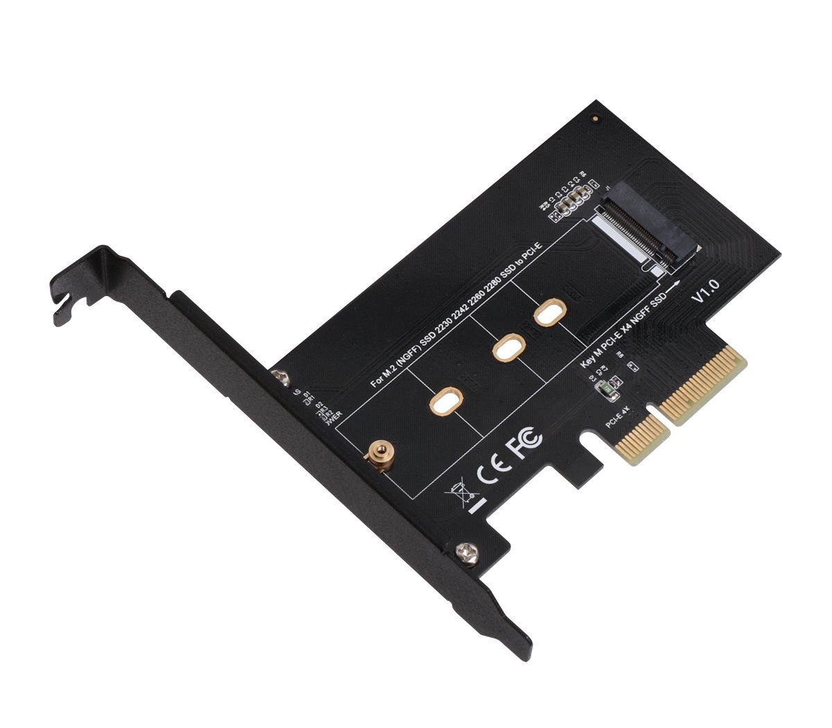 SIIG M.2 NGFF SSD M Key NVME PCIe Card Adapter - Supports M.2 PCIe 2230, 2242, 2260 and 2280 (SC-M20014-S1)