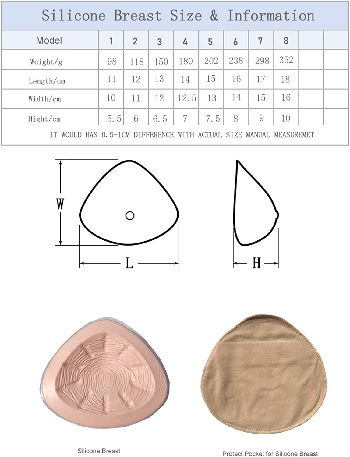 Lightweight Silicone Breast Form Woman Mastectomy Prosthesis Bra Enhancer Inserts 1 Pair