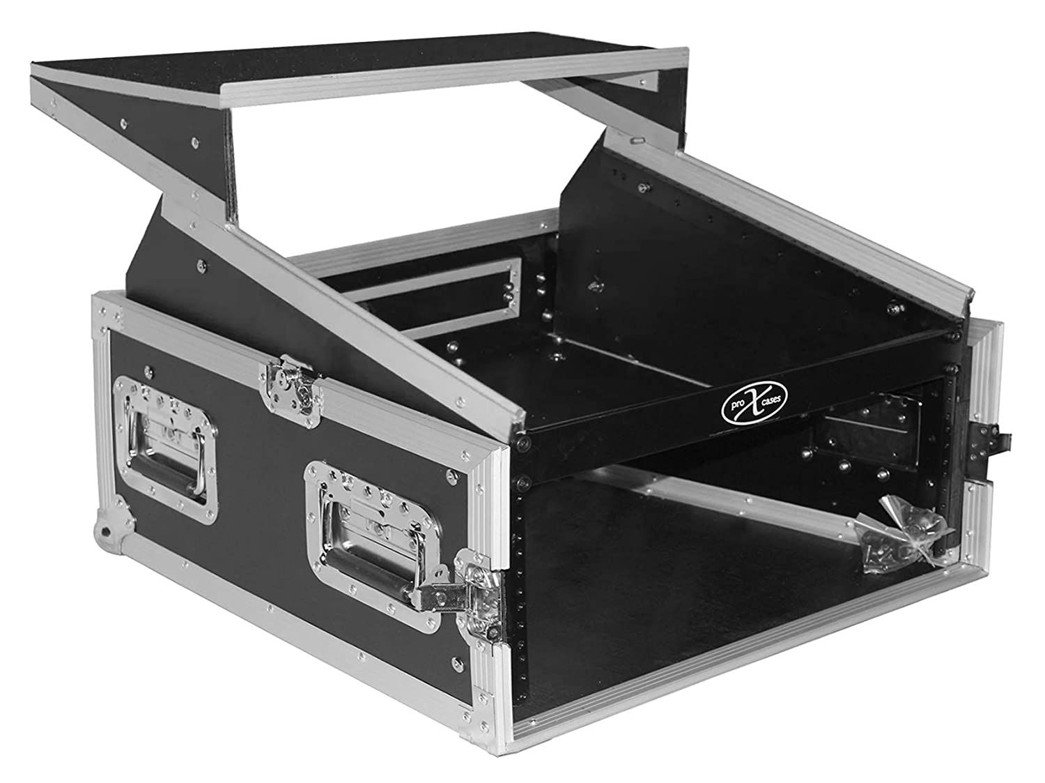 ProX Cases T-4MRLT 4 Space 10U Top Load Slant DJ Mixer Road Gig Ready Flight Combo Rack w/Gliding Laptop Shelf