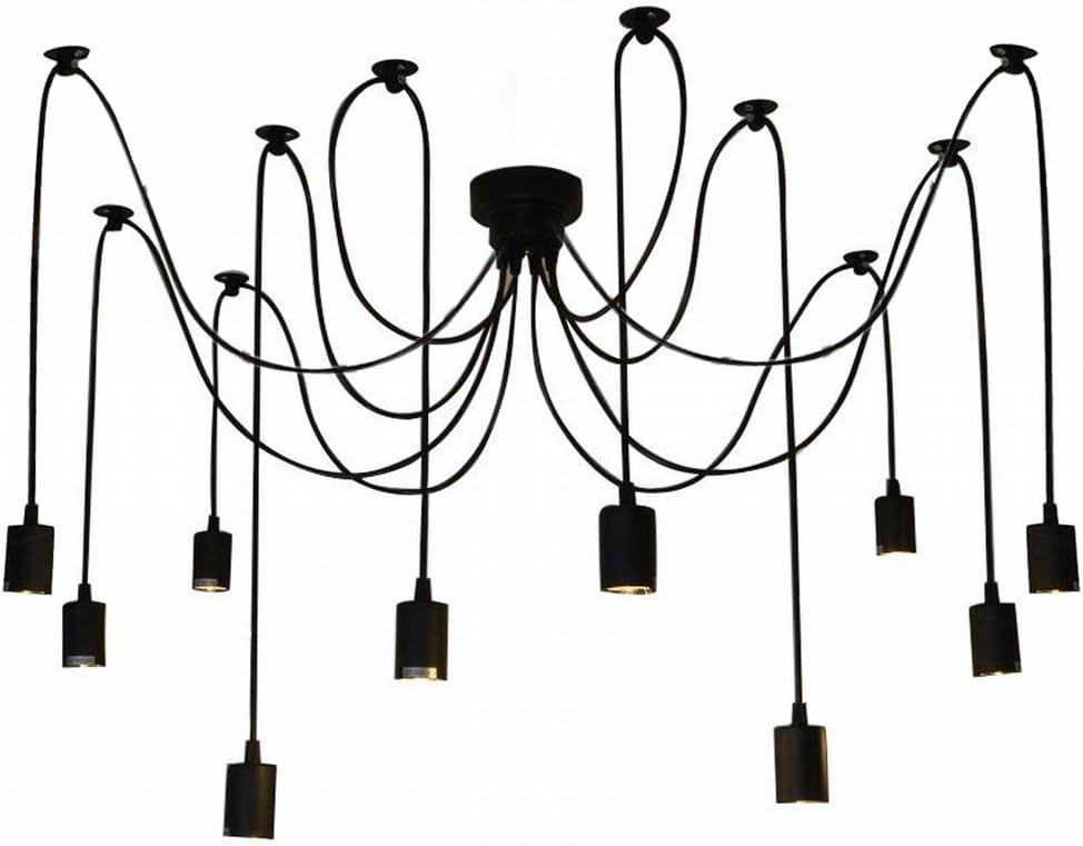 Lixada Luz Lámpara del Techo Candelabro Iluminación Retra Antigua Colgante Clásica Ajustable DIY con 6 Brazos de Araña para Bombilla E27 para Comedor Hotel Etc.(Cada cable 1.7m) (10 Brazos)