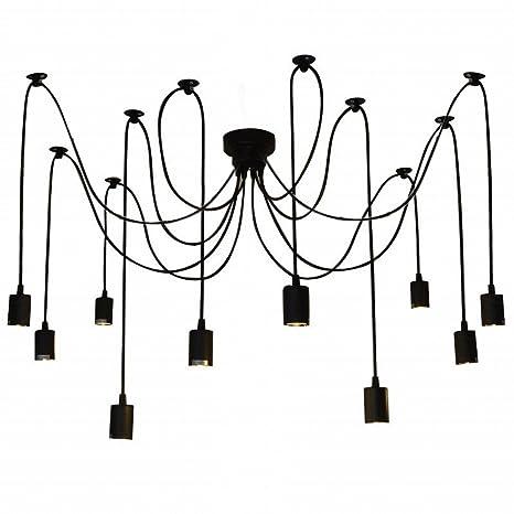 Lixada Luz Lámpara del Techo Candelabro Iluminación Retra Antigua Colgante Clásica Ajustable DIY con 6 Brazos de Araña para Bombilla E27 para Comedor ...