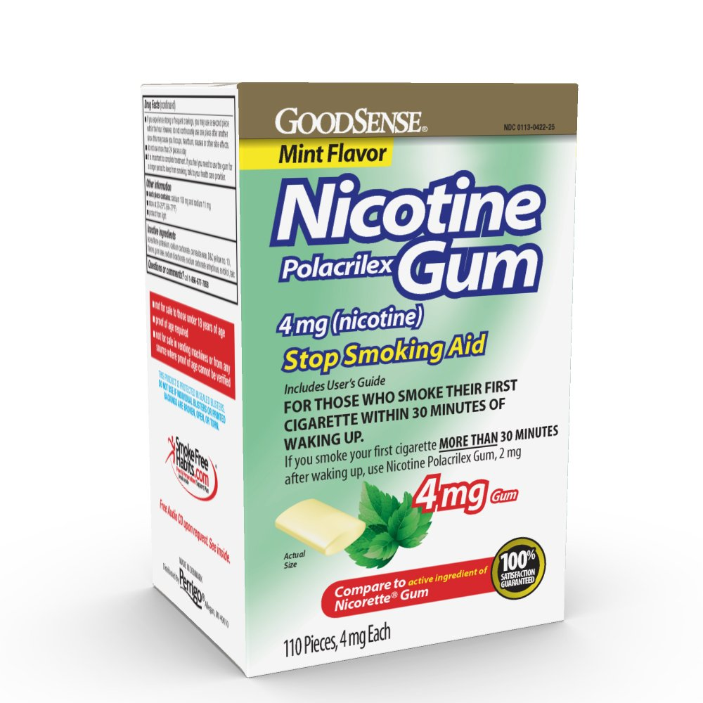 GoodSense Nicotine Polacrilex Gum 4mg, Mint, 110-count, Stop Smoking Aid, GoodSense Smoking Cessation Products by Good Sense