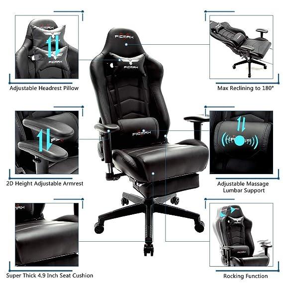 Ficmax Silla ergonómica para juegos Silla para computadora con masaje de soporte lumbar, sillas de juego para E-sports para jugador, silla de oficina ...