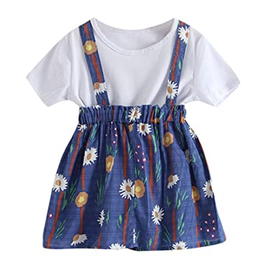 3f716e7cd Amazon.com: NUWFOR Toddler Baby Kids Girls Solid T-Shirt Tops Floral  Suspender Skirt Outift Set: Clothing