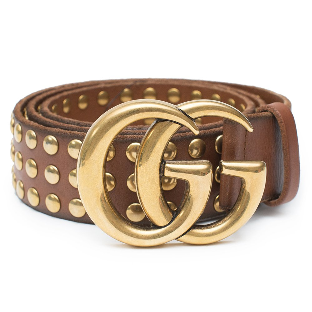 60c9e0ca369 Gucci Belt Marmont GG Studded Brown Leather Gold Size 90 cm Italy Only 1 New