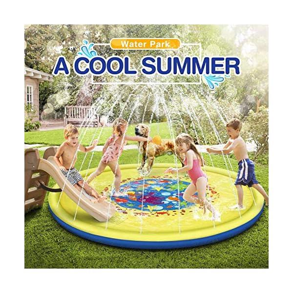 Jojoin 68 Pollici Bambini Giochi d'Acqua, Splash Play Mat Sprinkler Pad - Gioco di Spruzzi d'Acqua Tappetino, Portatile… 3 spesavip