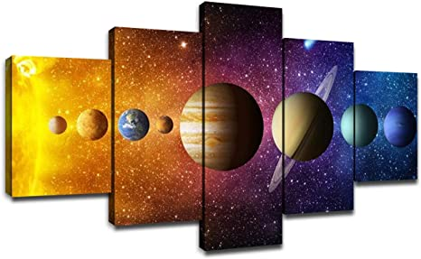 Amazon Com Solar System Wall Art For Kids Room Pictures Universe Planets Wall Decor Canvas Art Prints Outer Space Poster Living Room Bedroom Decoration Artwork Painting Framed Ready To Hang 60 X 32 Inches