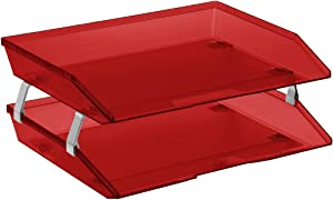 Acrimet Facility 2 Tier Letter Tray Side Load Plastic Desktop File Organizer (Clear Red Color)