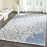 Safavieh Bella Collection BEL125C Handmade Light Blue and Ivory Premium Wool Area Rug (6′ x 9′) For Sale
