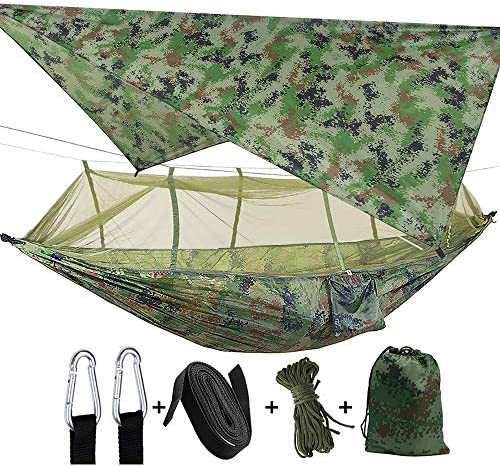 Camping 2 Person Hammock with Mosquito Net, Tent, Tree Straps Heavy Duty Waterproof Lightweight Nylon Portable Gammock for Hiking Outdoor Travel Beach Survival Backyard