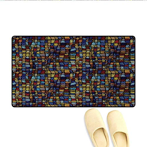 - Doormat,Victorian Medieval Mosaic Tiles Pattern with Oriental Spanish Anatolian Influences,Bath Mat for Tub Bathroom Mat,Multicolor,Size:20