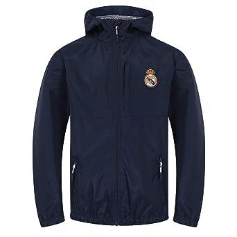 Real Madrid Official Football Gift Boys Shower Jacket Windbreaker Navy Blue