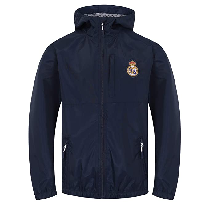 Real Madrid Official Football Gift Boys Shower Jacket Windbreaker Navy Blue