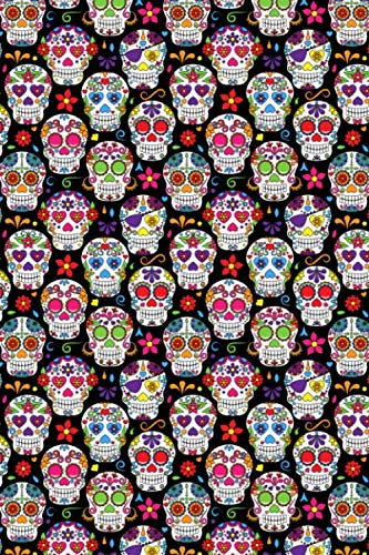 Day Of The Dead Pattern - Sugar Skull Santa Muerte 06: Blank Sketch Paper Notebook with frame for Day Of The Dead Lovers]()