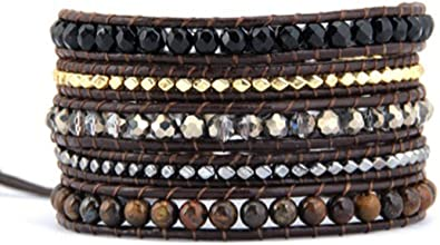 Necklace Boho Style Chain Leather Beaded Wrap Bracelet