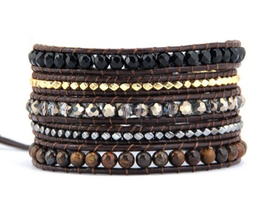 Mix Stone Crystal & Metal Nuggets Wrap Bracelet Handmade Woven Leather 5 Multilayer 4 mm Beads Boho Style