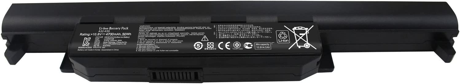 Shareway A32-K55 A32-K55X Replacement Laptop Battery for ASUS A45 K45 X45A A55A X55A X55C U57A R400 Q500A K75A K75V K75VM-TY126V 10.8V 4700mAh